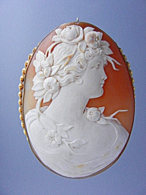Shell Cameo Carved Brooch Pin 10k Italy