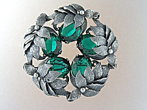 Brooch Pin Sterling Silver Green Glass Cini