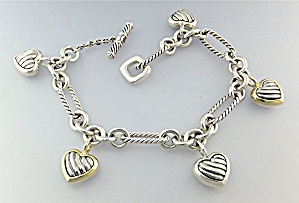 David Yurman 18k Sterling Silver Hearts Bracelet