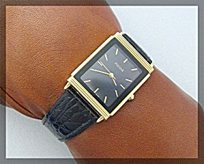 Pulsar Square Ladies Wristwatch Black Leather Strap