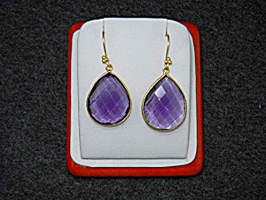 14k Gold Shepherd Hook Amethyst Teardrop Earrings