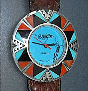 Surrisi Sterling Silver Coral Turquoise Wristwatch