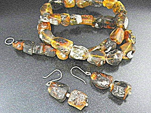 Amber Necklace Earrings Chiapas Mexico Sterling Silver