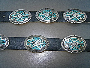 Native American Sterling Silver Inlays Leather Hat Band
