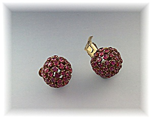 Earrings 14k Yellow Gold Gold & Ruby Clip On