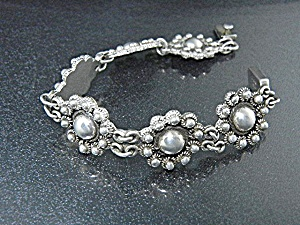 Taxco Mexico Sterling Silver Flower Bracelet