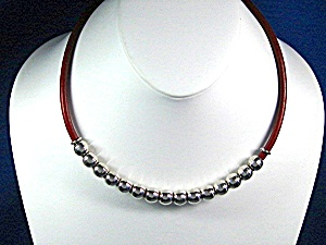 Taxco Mexico Sterling Silver Beads Red Leather Necklace