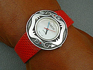 Surrisi Sterling Silver Wristwatch Red Leather Band