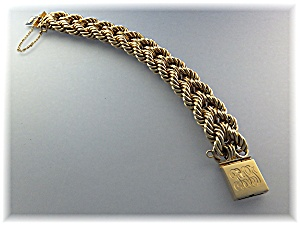 Bracelet 14k Gold Double Rope 7 1/2 And 32 Grams