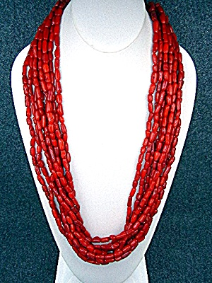 Coral 10 Strand Necklace Sterling Silver Clasp And Exte