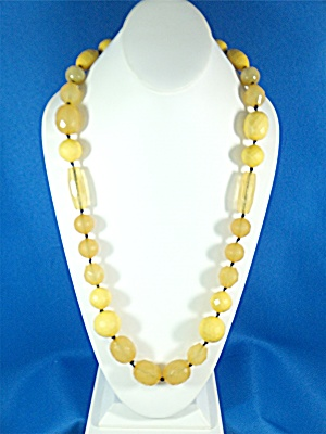 Necklace Plastic Lucite Hand Knotted Yellow Golds
