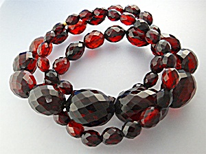 Necklace Cherry Amber Faceted Graduated Poland