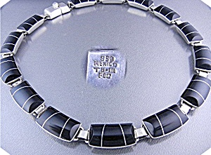 Taxco Mexico Sterling Silver Onyx Inlay Necklace