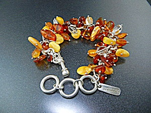 Charles Albert Sterling Silver Baltic Amber Toggle Brac