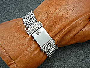 Bali Indonesia Sterling Silver Push Clasp Bracelet