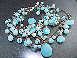 Sterling Silver Larimar Bib Necklace Chan Luu