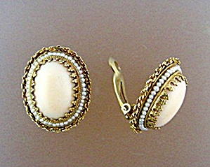 Earrings 14k Gold Angelskin Coral And Seed Pearl Clip