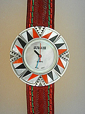 Surrisi Sterling Silver Coral Onyx Mother Pearl Inlay W