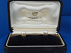 Earrings 14k Gold Pearls Mikimoto In Original Box