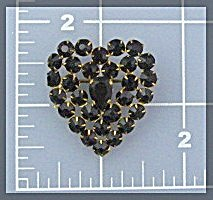 Crystal Red Heart Pin Brooch Signed Czechoslovakia