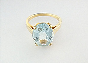 Ring 14k Gold 3ct Oval Aquamarine