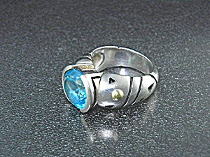 John Atencio 18k Gold Sterling Silver Blue Topaz Ring