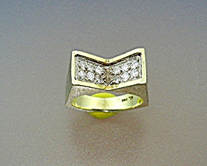 Ring 14k Gold And Diamonds Signed Ml