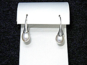 Freshwater Pearl Sterling Silver Shepherd Hook Earrings
