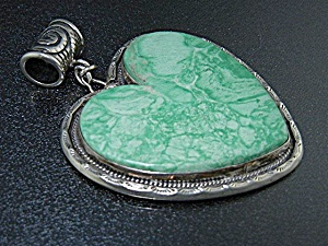 Sterling Silver Green Varicite Heart Pendant 3 1/2 Inch