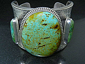 David Troutman Sterling Silver Kingman Turquoise Bracel