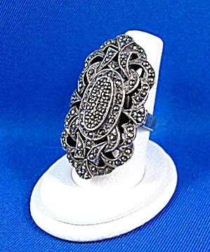 Sterling Silver Marquisite Ring Antique