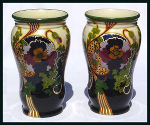 Gouda: Pair Of Large Ivora Vases