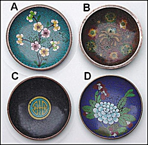 Set Of 4 Small Cloisonne Dishes