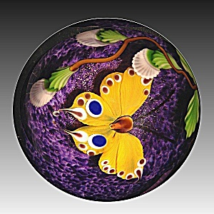 Mayauel Ward 2013: Yellow Butterfly And Buds Paperweight