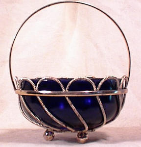 English Silver Plate Basket - Cobalt Liner