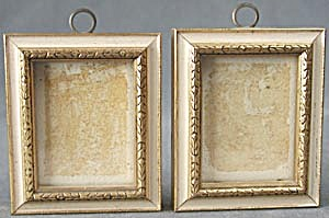 Vintage Small Wooden Picture Frames Pair