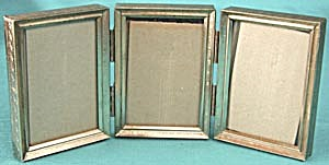 Vintage Small Metal 3 Image Hinged Picture Frame