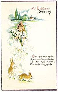Vintage: Birthday Card Girl With Bunnies