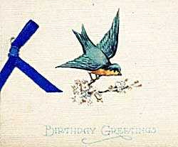 Vintage Birthday Card Bluebird