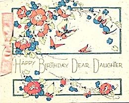 Vintage Birthday Card Butterflies