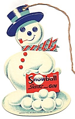Snowball Squirt & Gin Double Sided Die Cut Snowman Sign