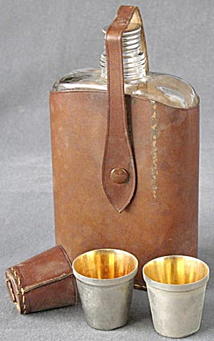 Vintage Glass Bottle Flask/leather Cover/2 Shot Glasses