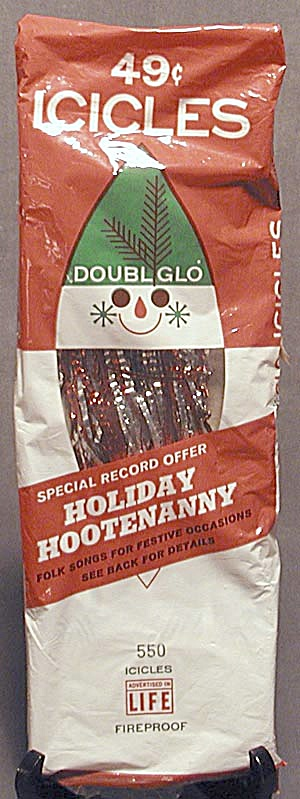 Vintage Doubl Glo Red & Silver Icicles In Original Box