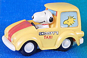 Vintage Snoopy Friction Taxi Car