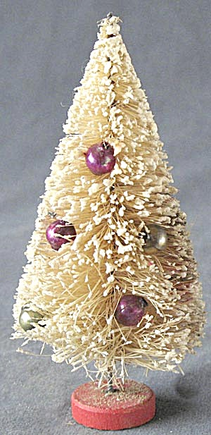 Vintage White Bottle Brush Christmas Tree With Snow