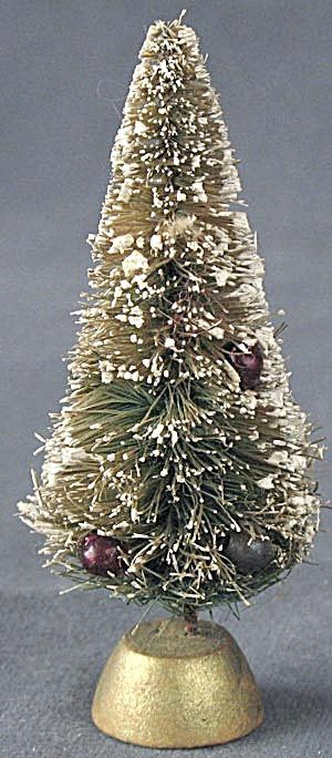 Vintage Bottle Brush Christmas Tree With Snow & Beads