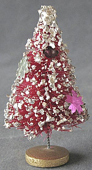 Vintage Pink Bottle Brush Christmas Tree With Snow
