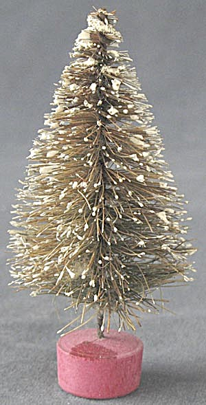 Vintage Bottle Brush Christmas Tree With Snow