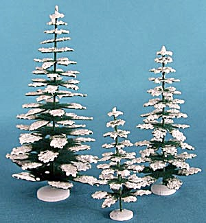 Set Of 3 Snow Covered Pine Trees