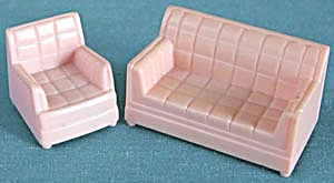 Vintage Plastic Dollhouse Couch & Chair
